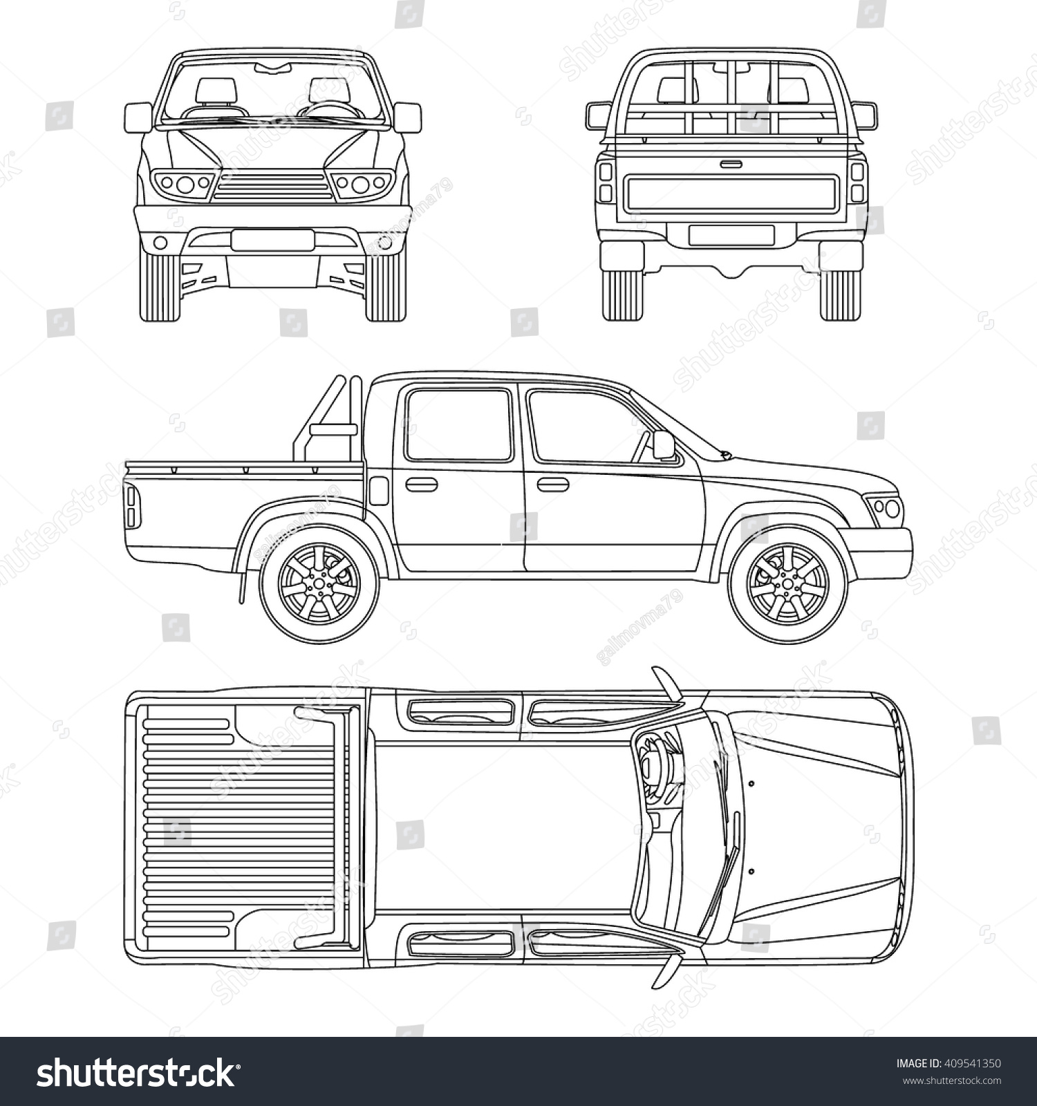 Car pickup truck double cab vector stock vector 409541350 car pickup truck double cab vector illustration blueprint malvernweather Gallery
