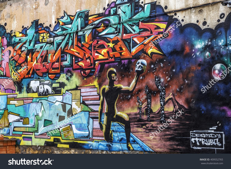 Beautiful street art of graffiti abstract color creative drawing fashion on walls of city