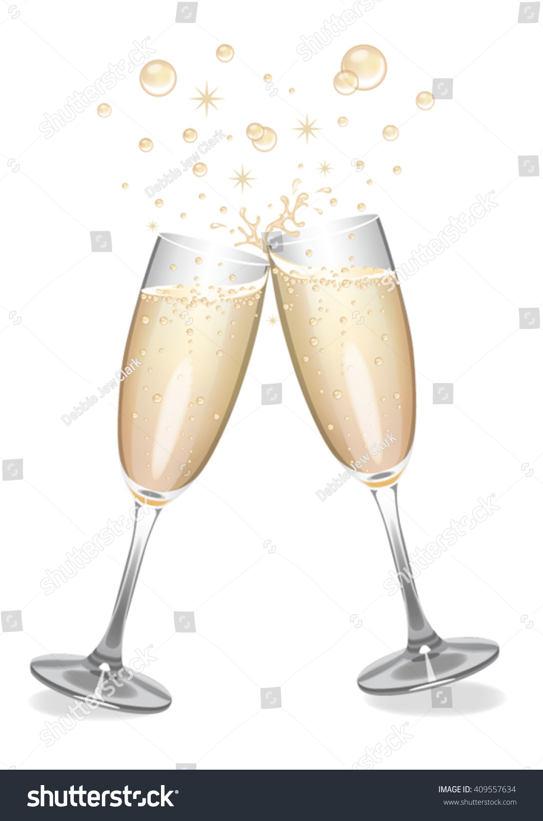 champagne glasses bubbles stock vector 409557634