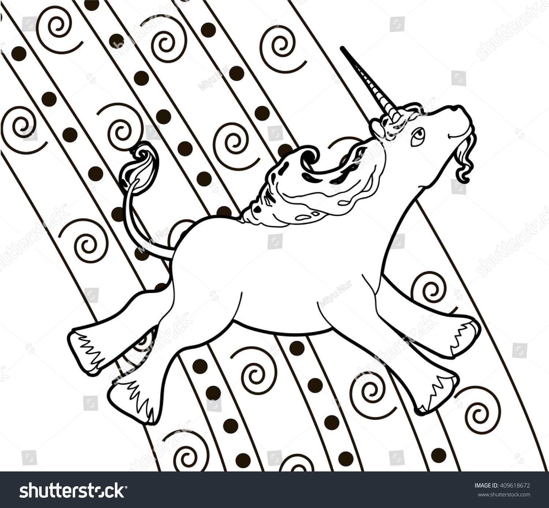 Happy Unicorn Rainbow Colouring Page Stock Vector Royalty Free 409618672