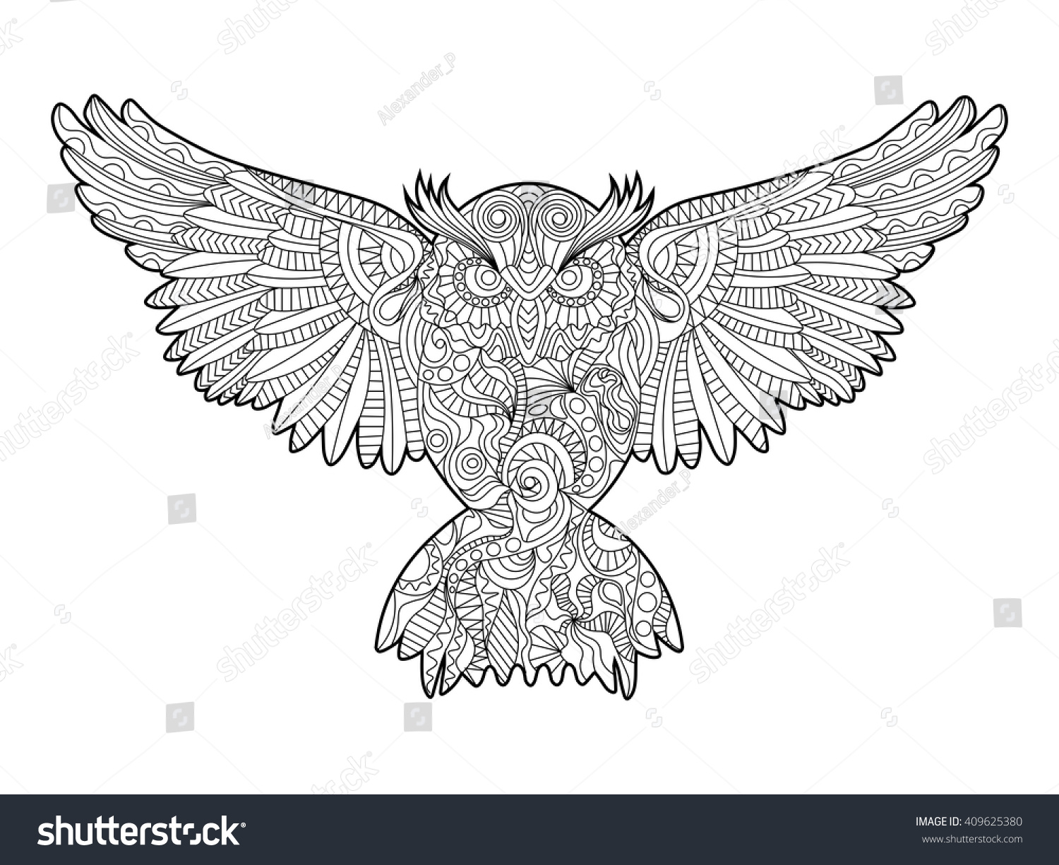owl bird coloring book for adults vector illustration anti stress coloring for adult