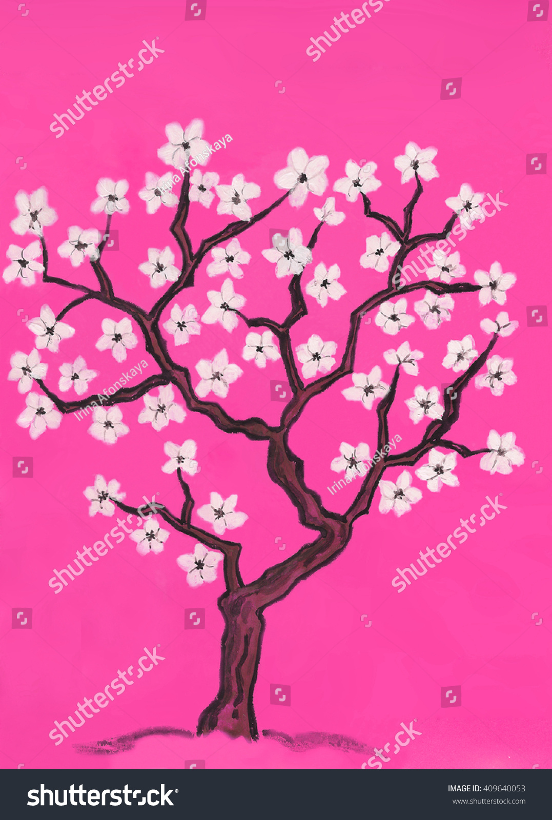 Hand Painted Picture Spring Tree In Blossom With White Flowers In