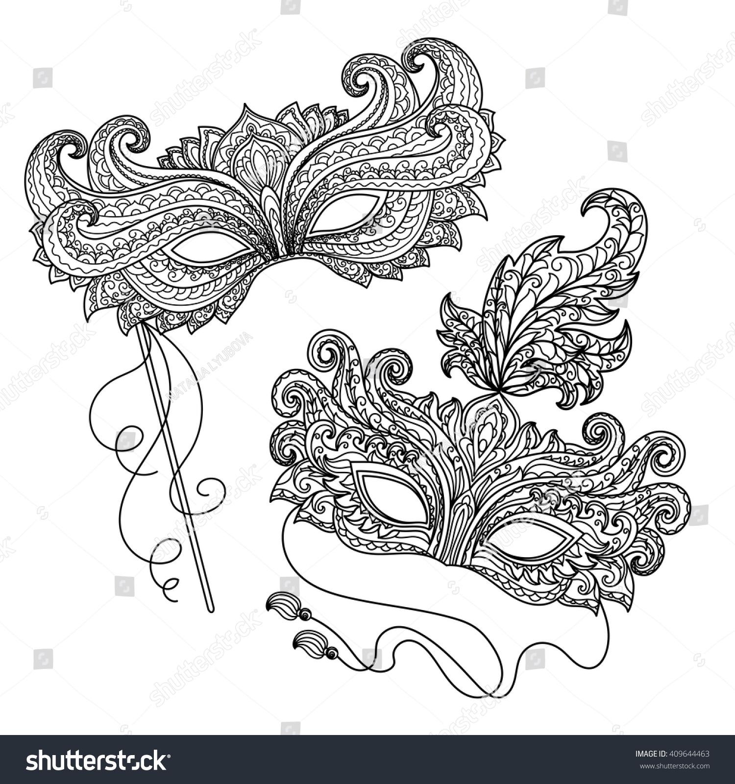 Vector Black And White Illustration Design Element Outline Doodle Mask Set