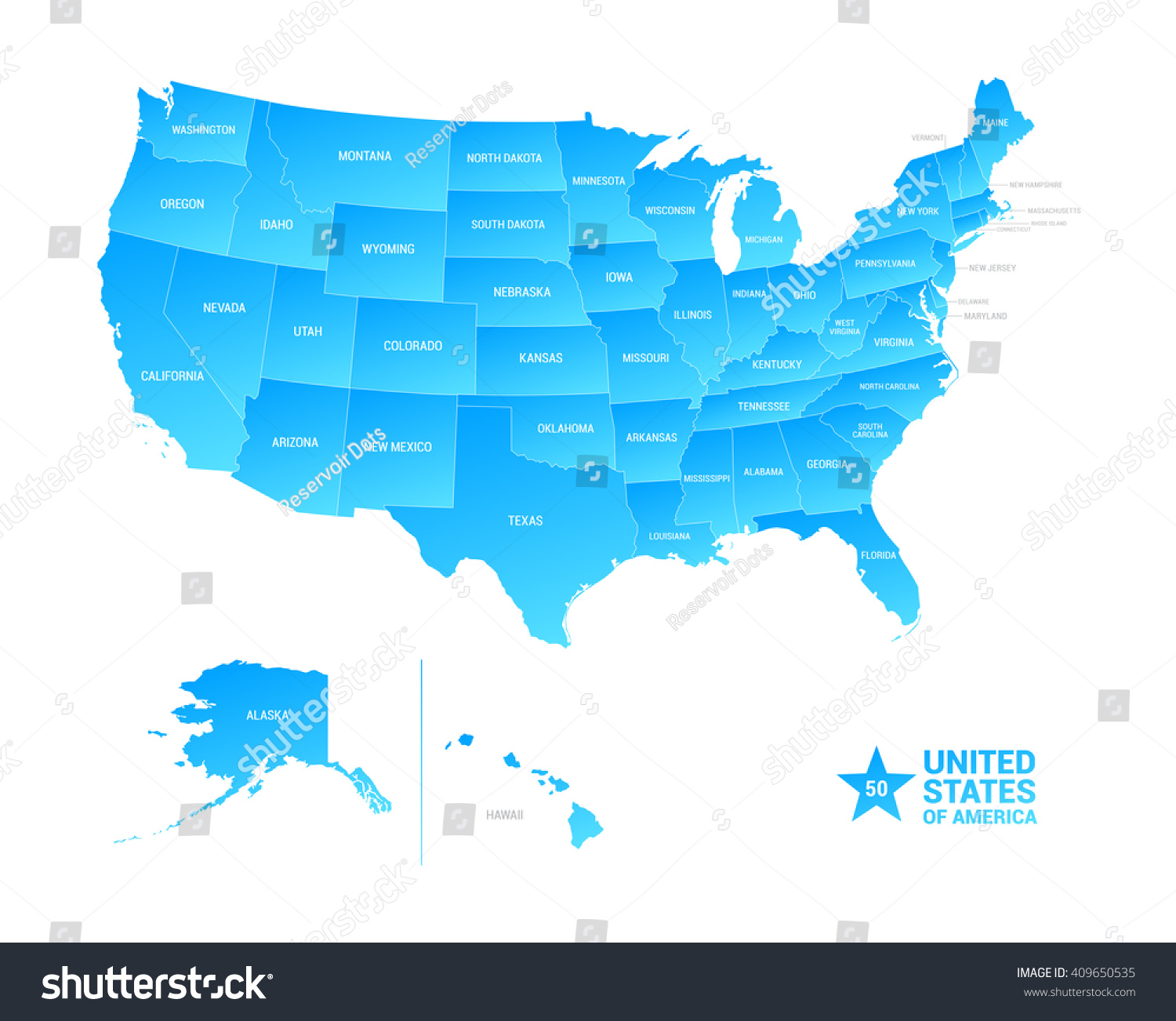 United States America Usa Vector Map Stock Vector 409650535