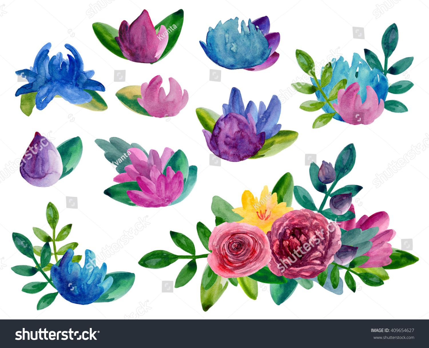 Watercolor Abstract Flowers Bouquets Clipart Floral Stock ...