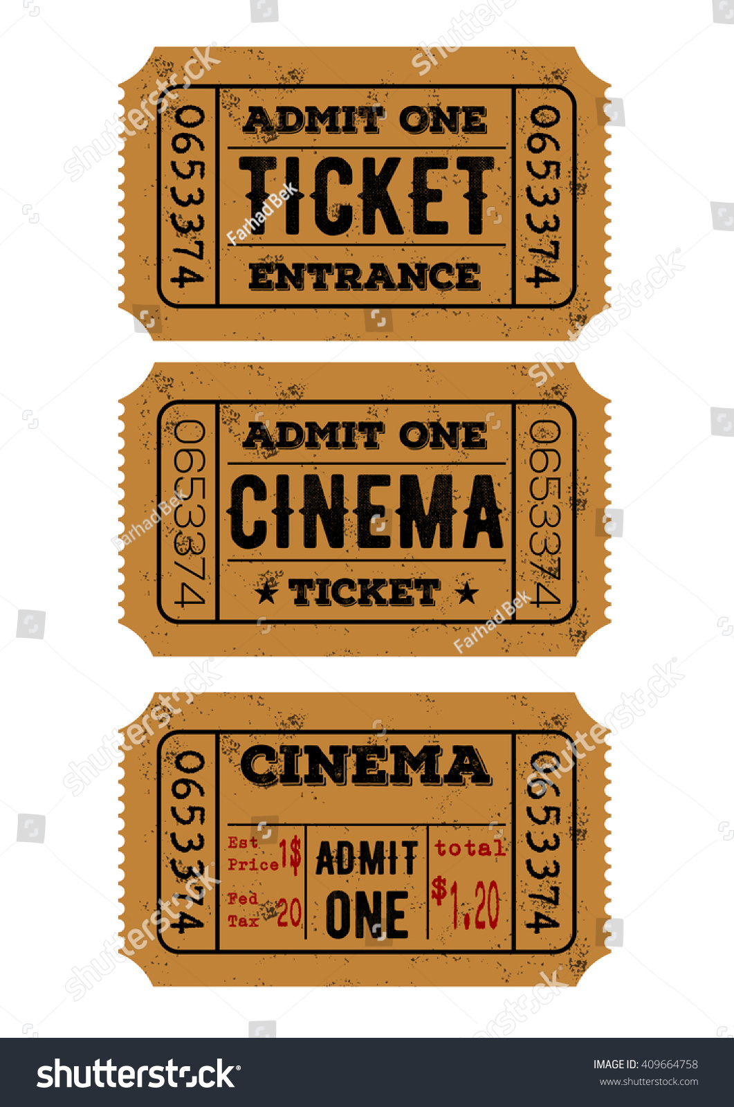 vector set of vintage paper admit one and ticket samples icon save to a lightbox