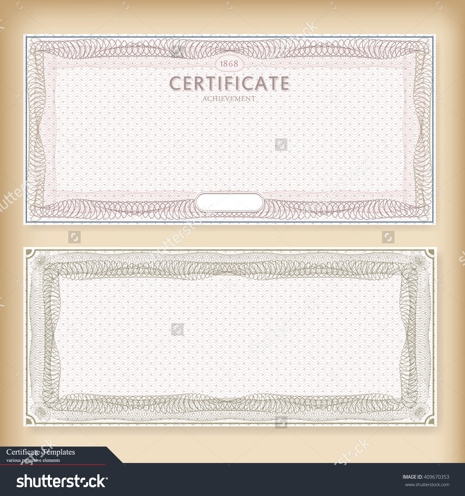 Vintage Certificate Template Watermark Ornate Gift Stock Vector