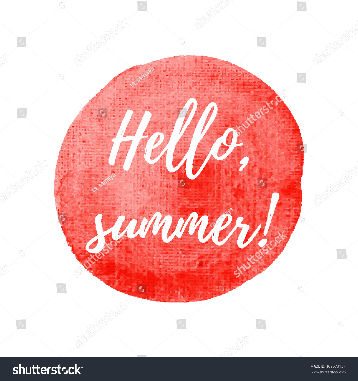 Hello Summer Card On Watercolor Background