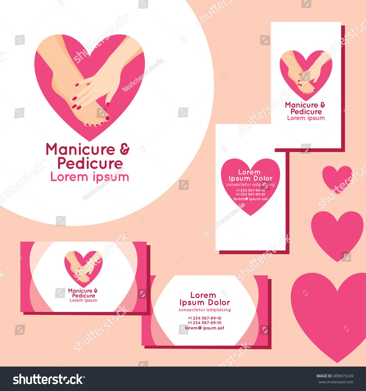Manicure Pedicure Logo Set Business Cards Stock Vector 409675249 ...