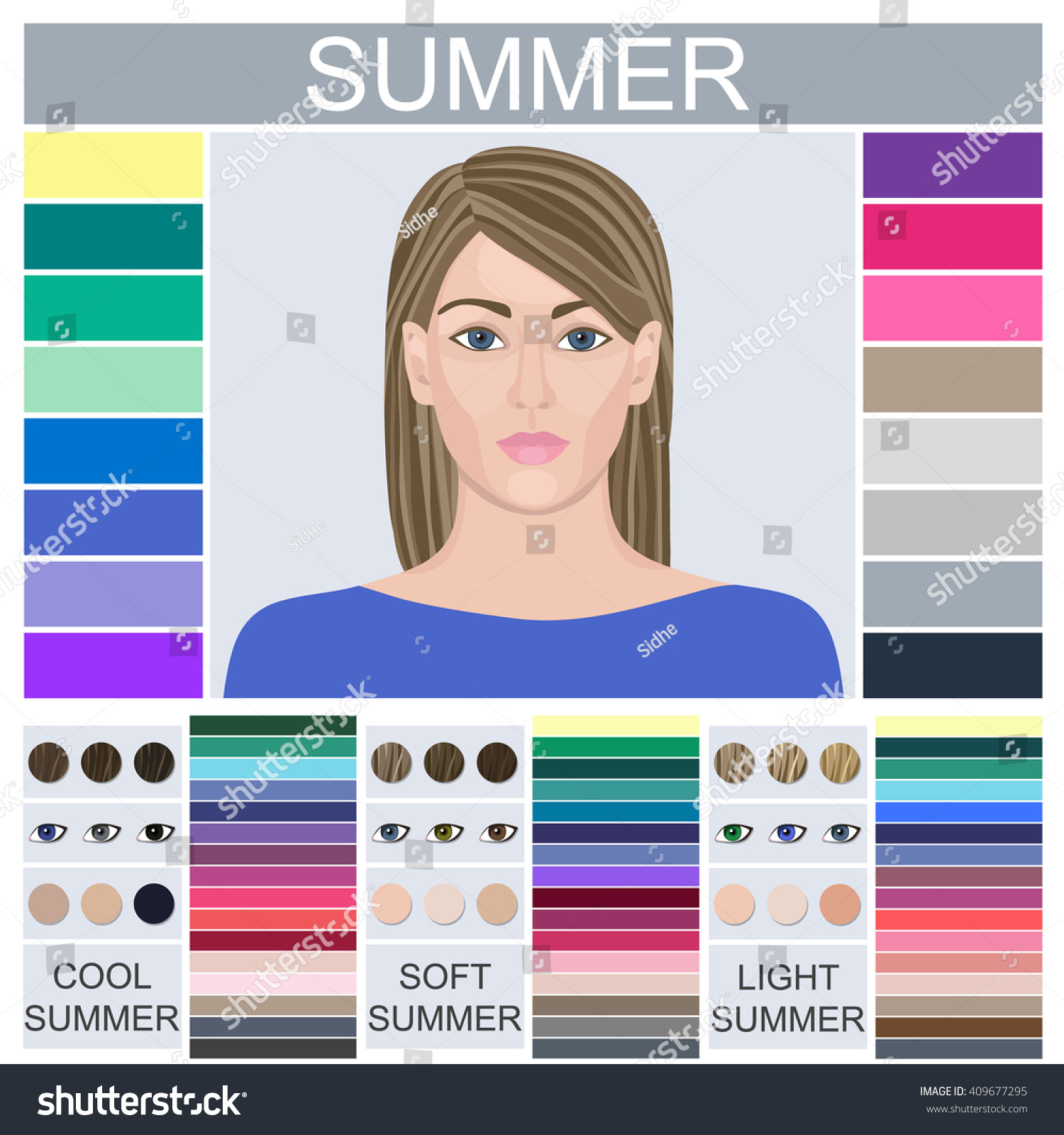 Stock Vector Seasonal Color Analysis Palette Stock Vector Royalty