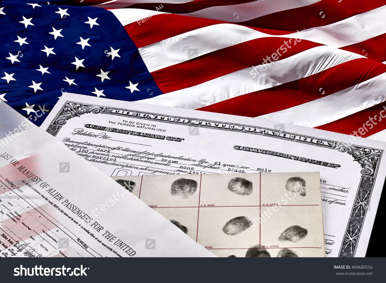 Certificate Us Citizenship Fingerprint Card Declaration Stock Photo