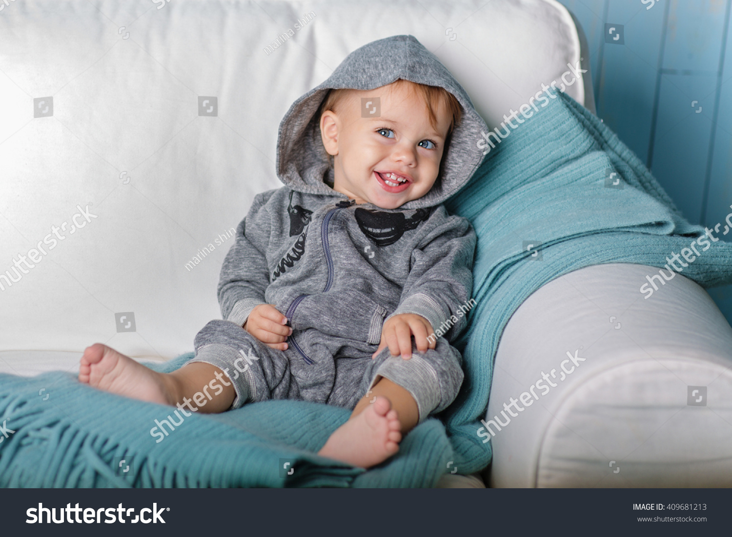 image sweet baby boy closeup portrait stock photo (royalty free