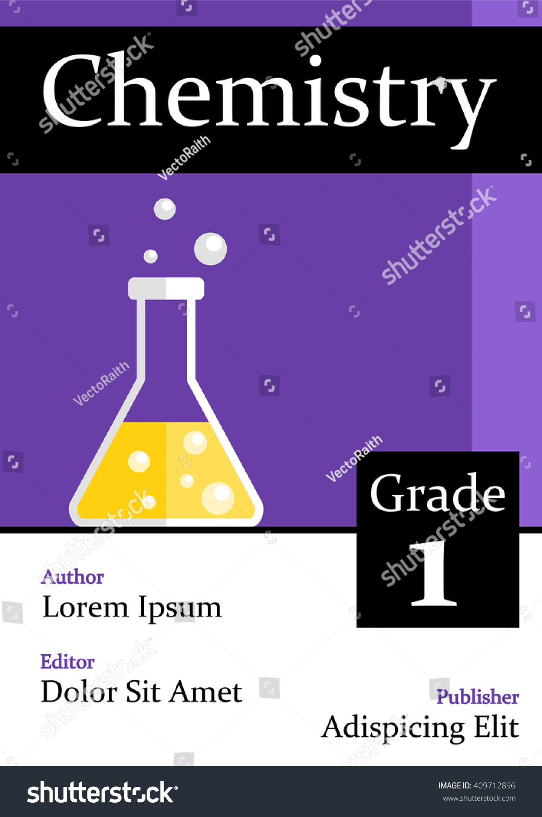 Illustrated Book Cover Vector ~ A chemistry book cover flat style stock vector royalty free