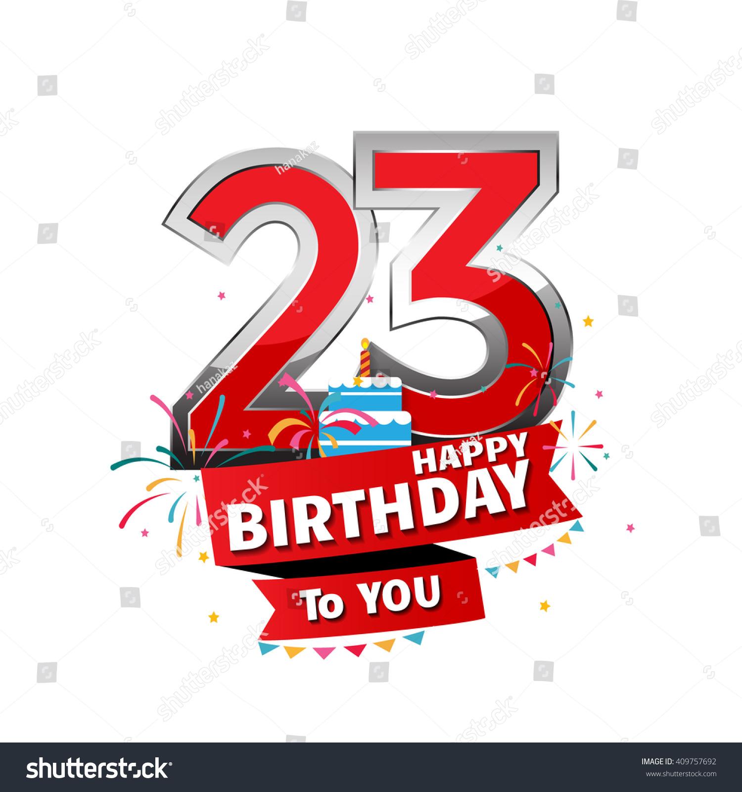 Happy Birthday 23 Date Fun Celebration Stock Vector 409757692
