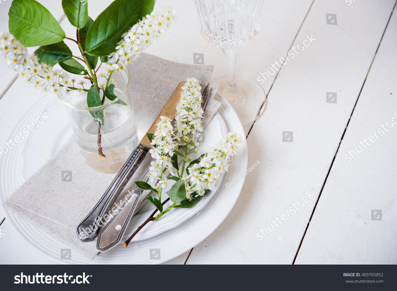Snow White Wedding Table Decor Stock Photo Edit Now 409765852
