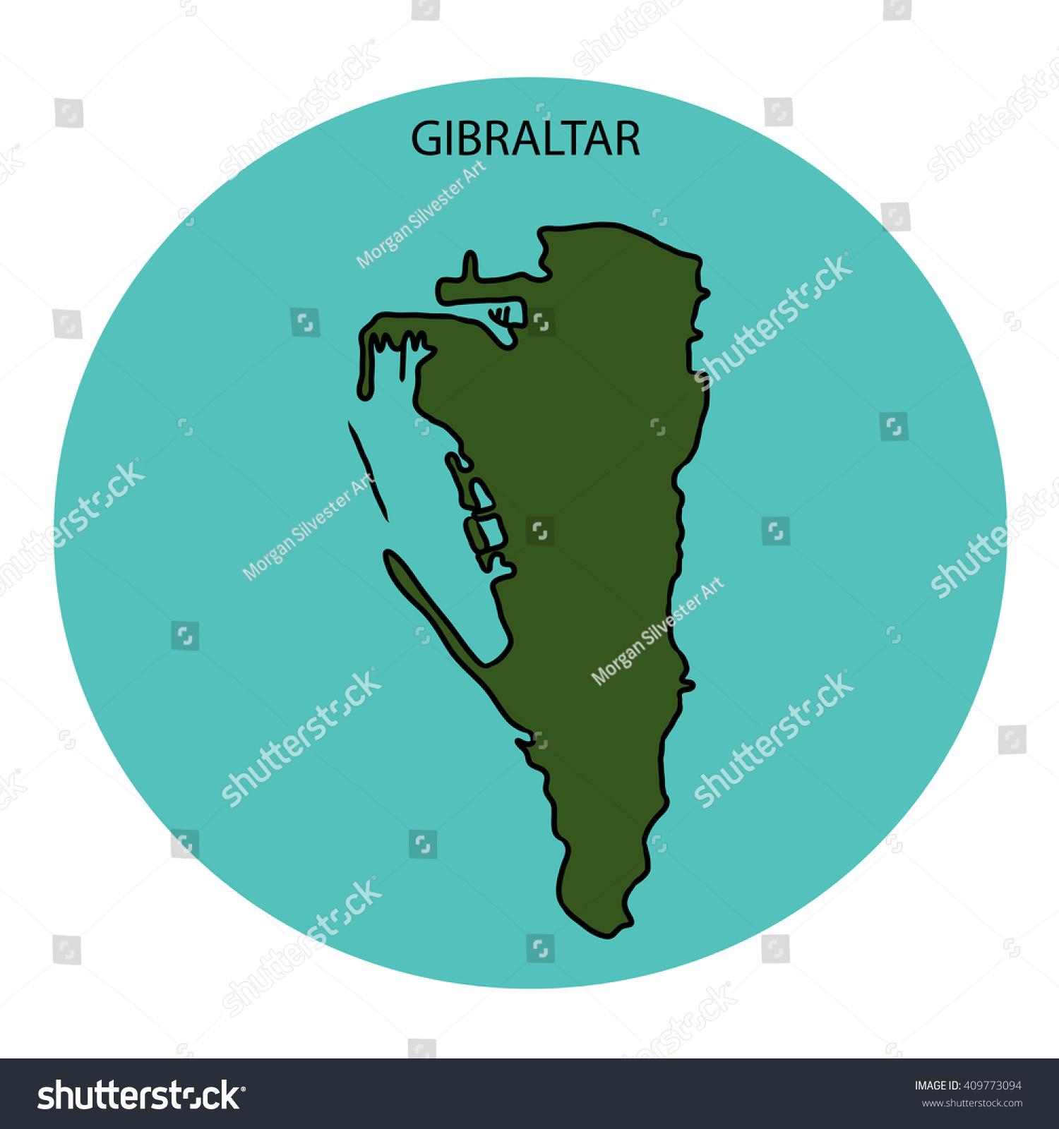 Gibraltar Map Stock Illustration 409773094 Shutterstock