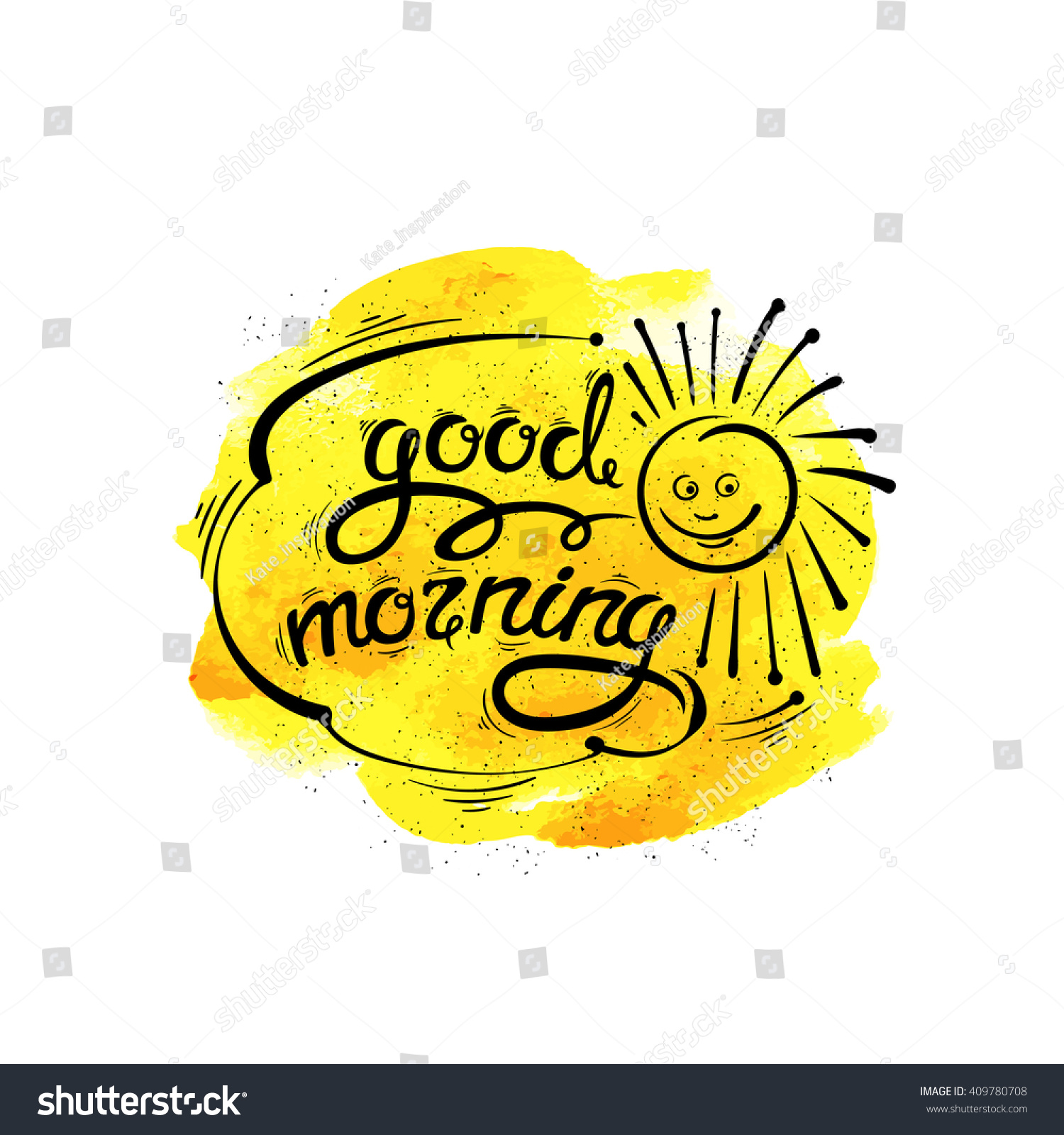 Good Morning Sunshine Letter : Good morning vector handdrawn letters sun stock