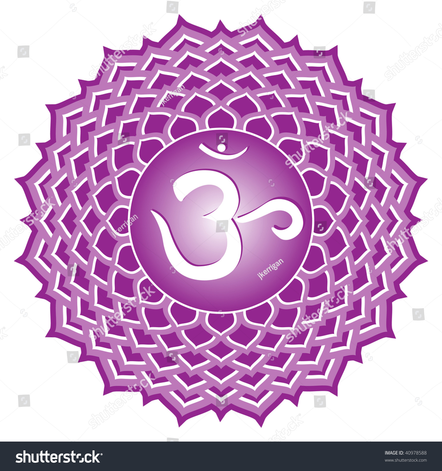 Chakra Series Sahasrara Crown Chakra Symbol Stock Illustration