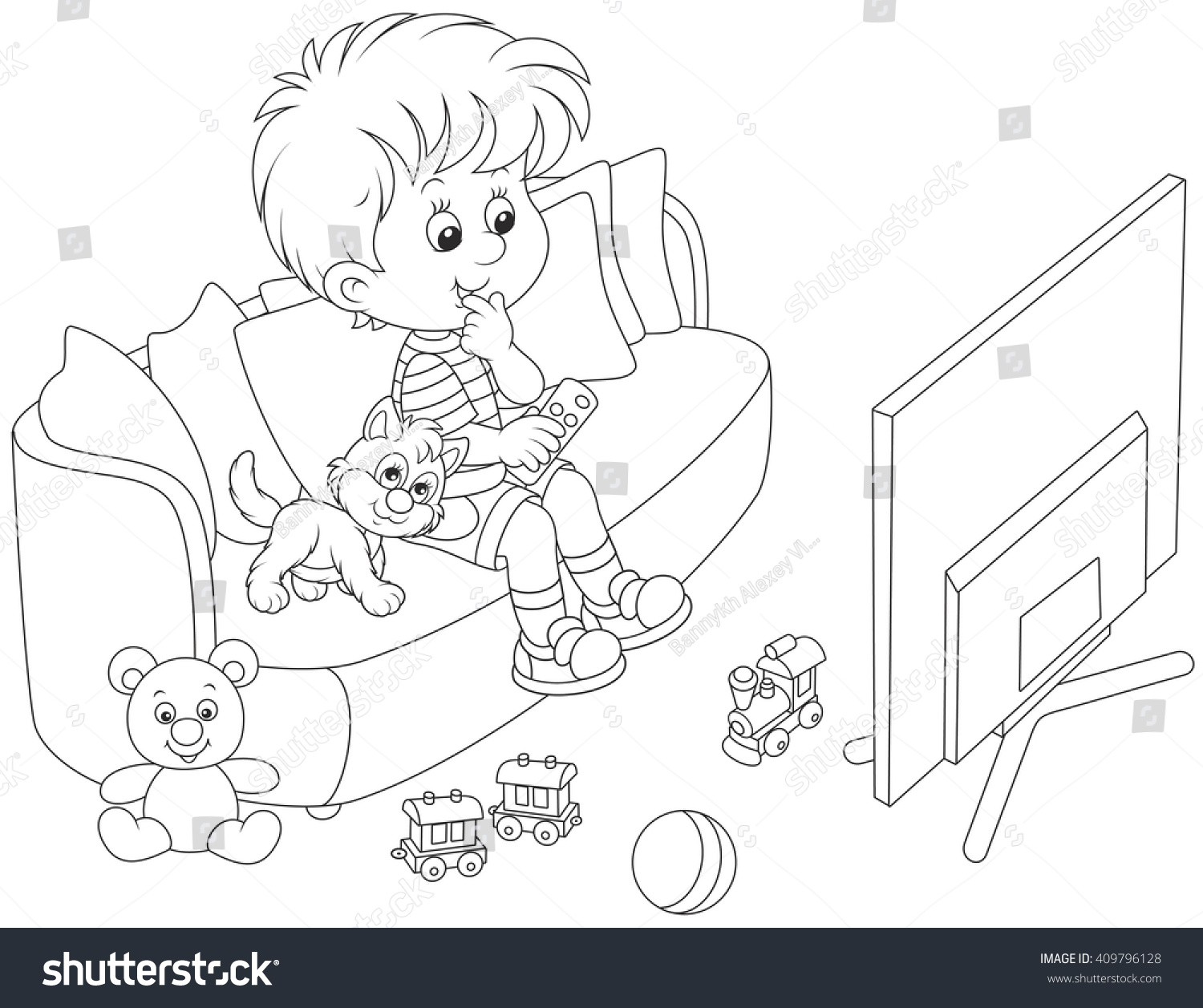 Little Boy Sitting On Sofa Watching Stock Vector Royalty Free