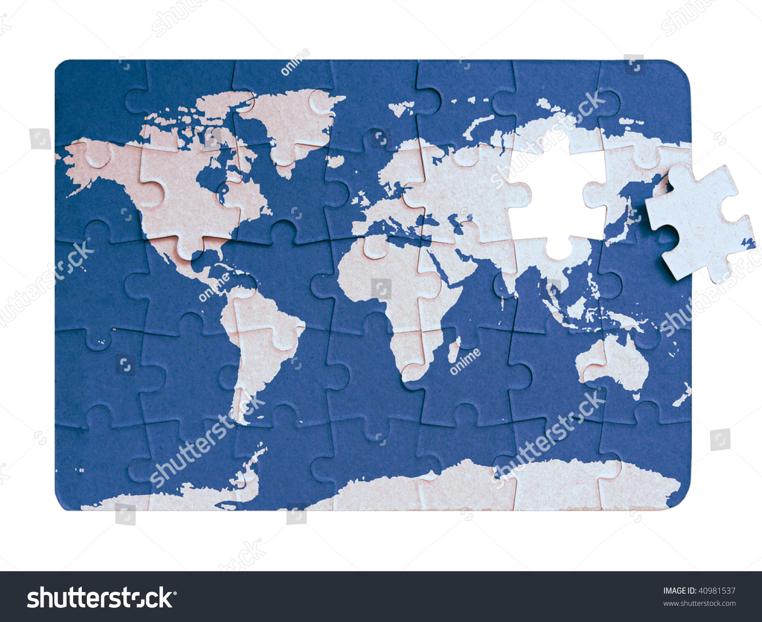 World map continents ocean on puzzle stock illustration 40981537 world map of continents and ocean on puzzle layered computer generate image gumiabroncs Images
