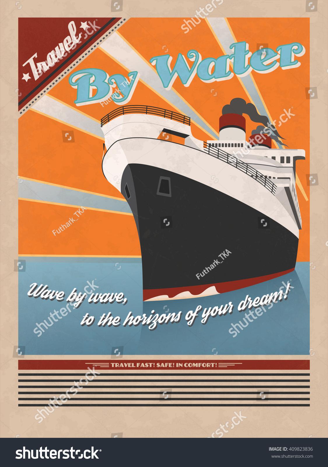 Vector De Stock Libre De Regalias Sobre Afiche De Viajes Por Mar