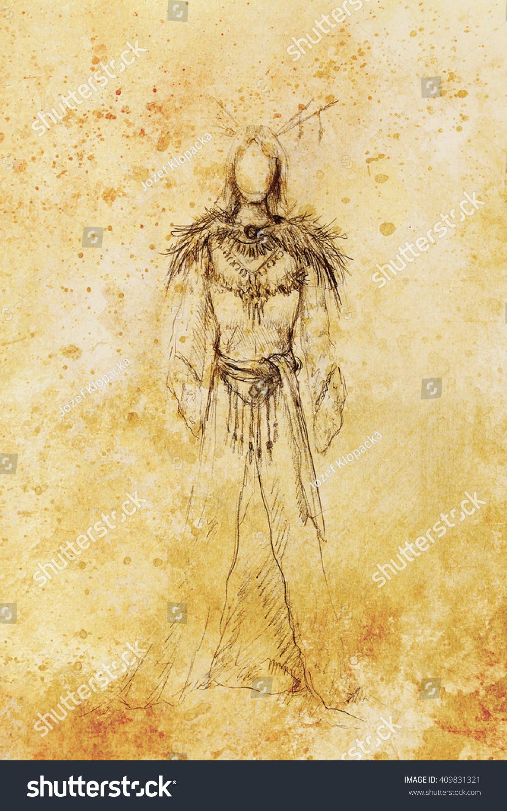 Drawing Mystical Indian Woman Beautiful Dress Stock Illustration 409831321
