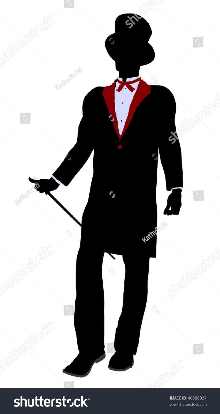 Male Magician Silhouette Illustration On A White ...