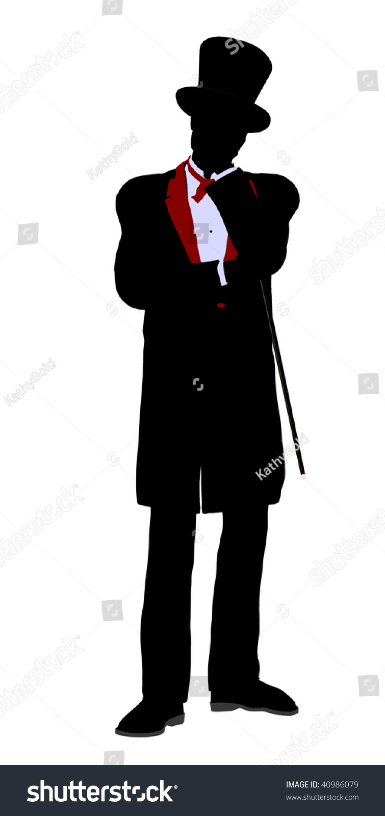 Male Magician Silhouette Illustration On White Stock ...
