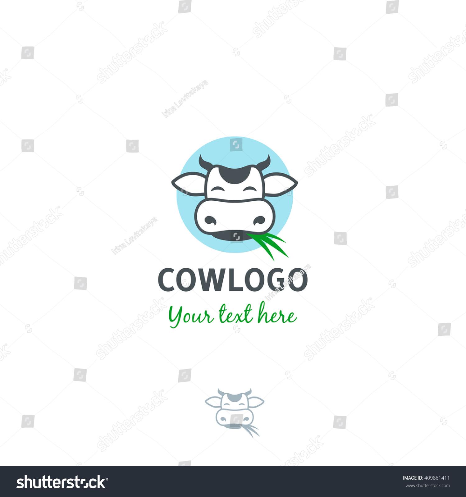 Funny Cartoon Vector Cow Face Grass Stock Vector 409861411 ...