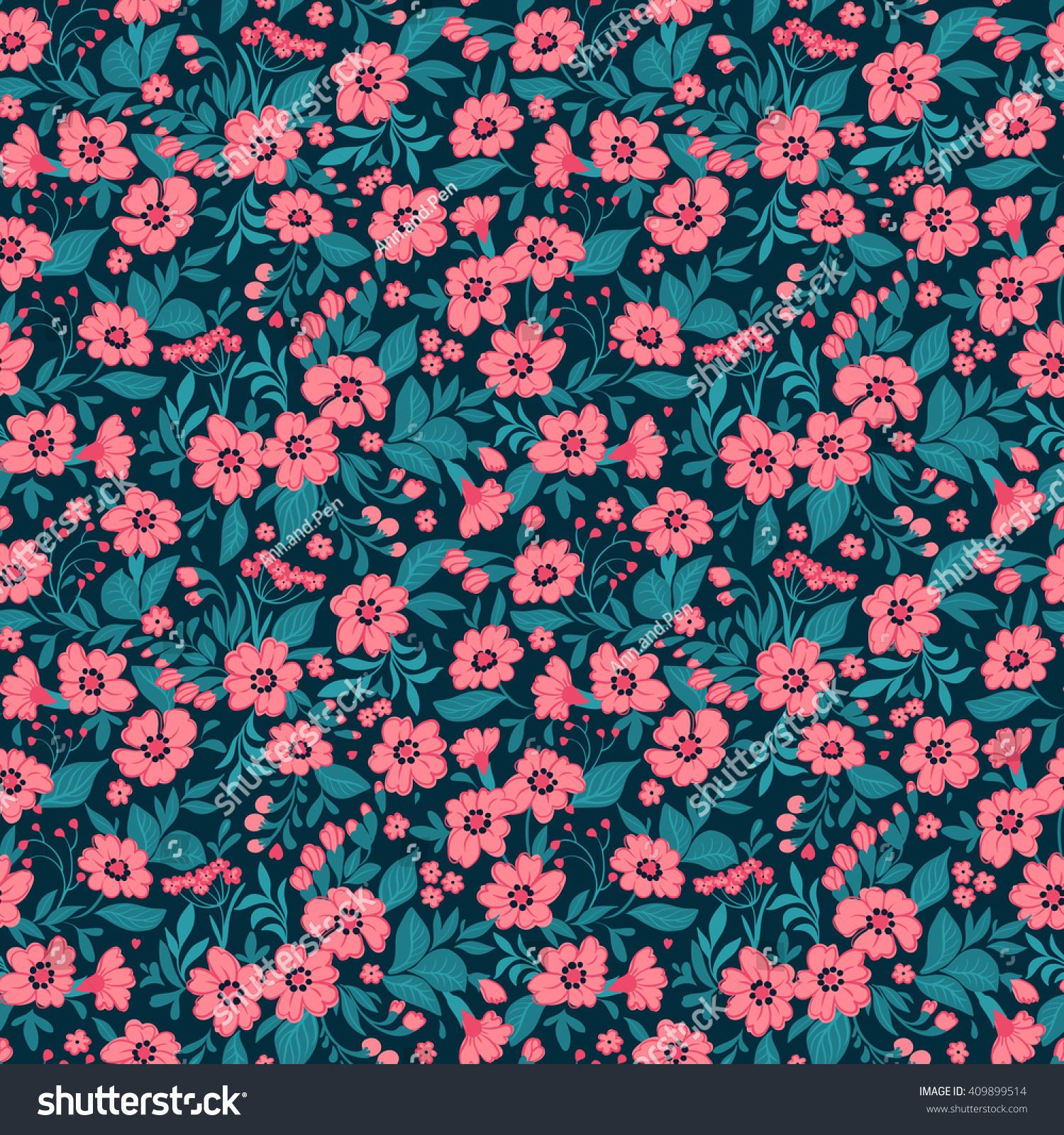 Cute Pattern Small Flower Small Pink Stock Vector 409899514