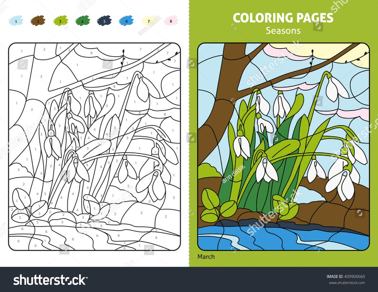 Seasons Coloring Page Kids Printable Design Coloring Stock Vector ...