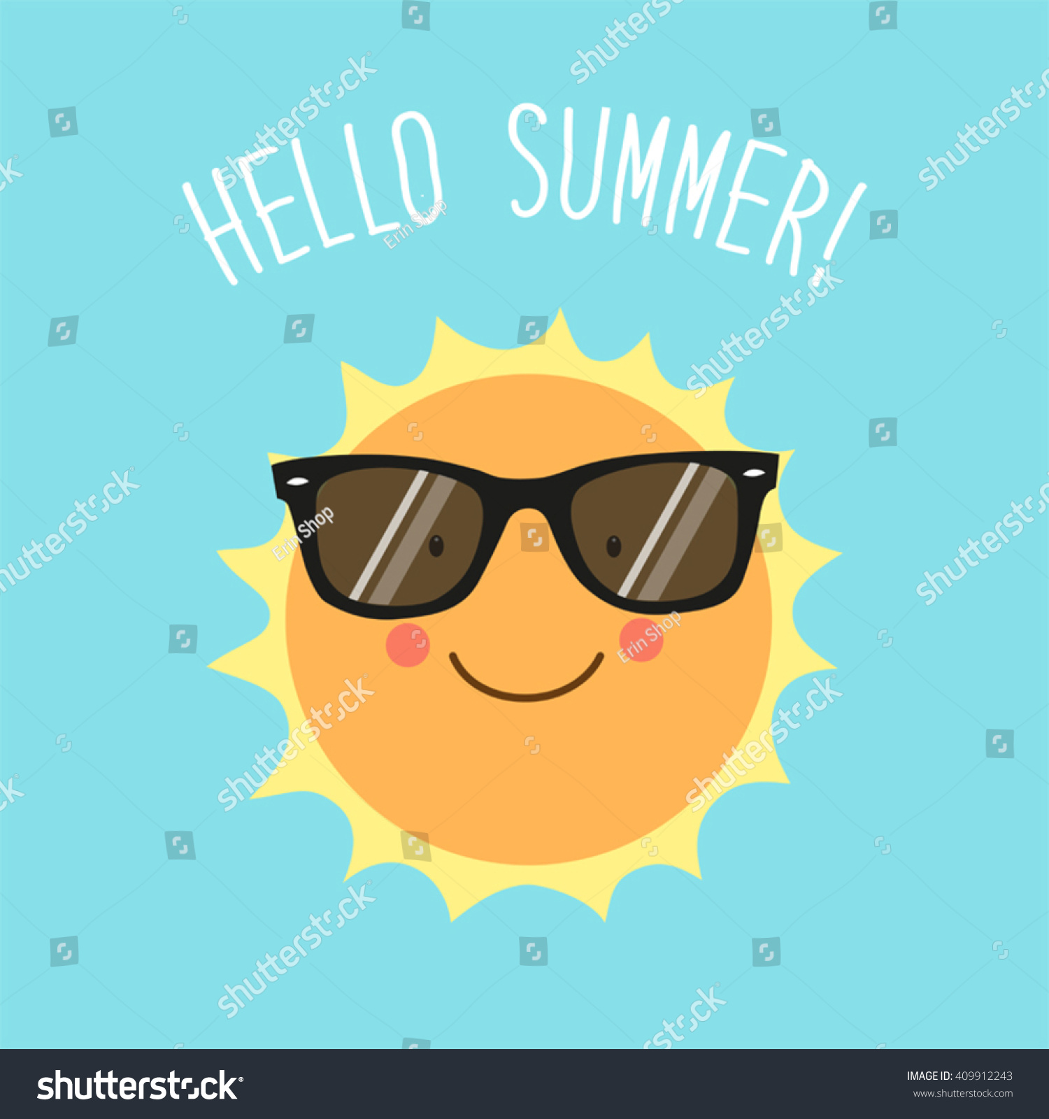 Hello Summer Card Cute Hand Drawn Stock Vector 409912243 - Shutterstock