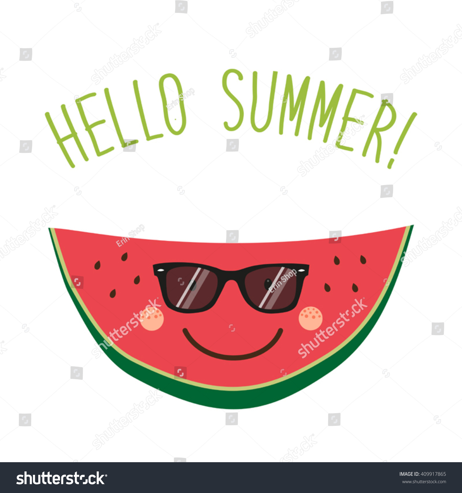 Ordinaire Cute Card Hello Summer As Funny Hand Drawn Cartoon Character Of Watermelon  And Hand Written Text