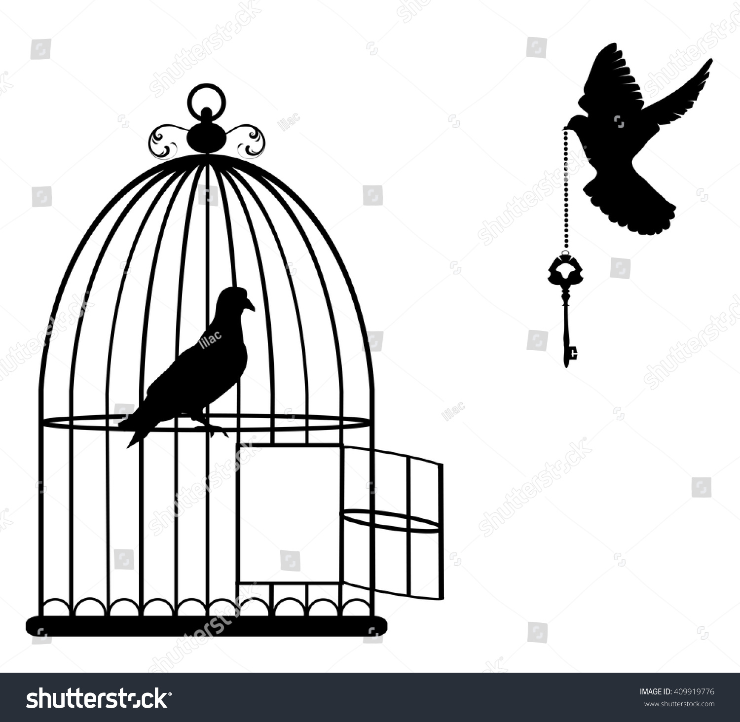 Vector Illustration Of A Bird Cage Open With Doves Flying ...