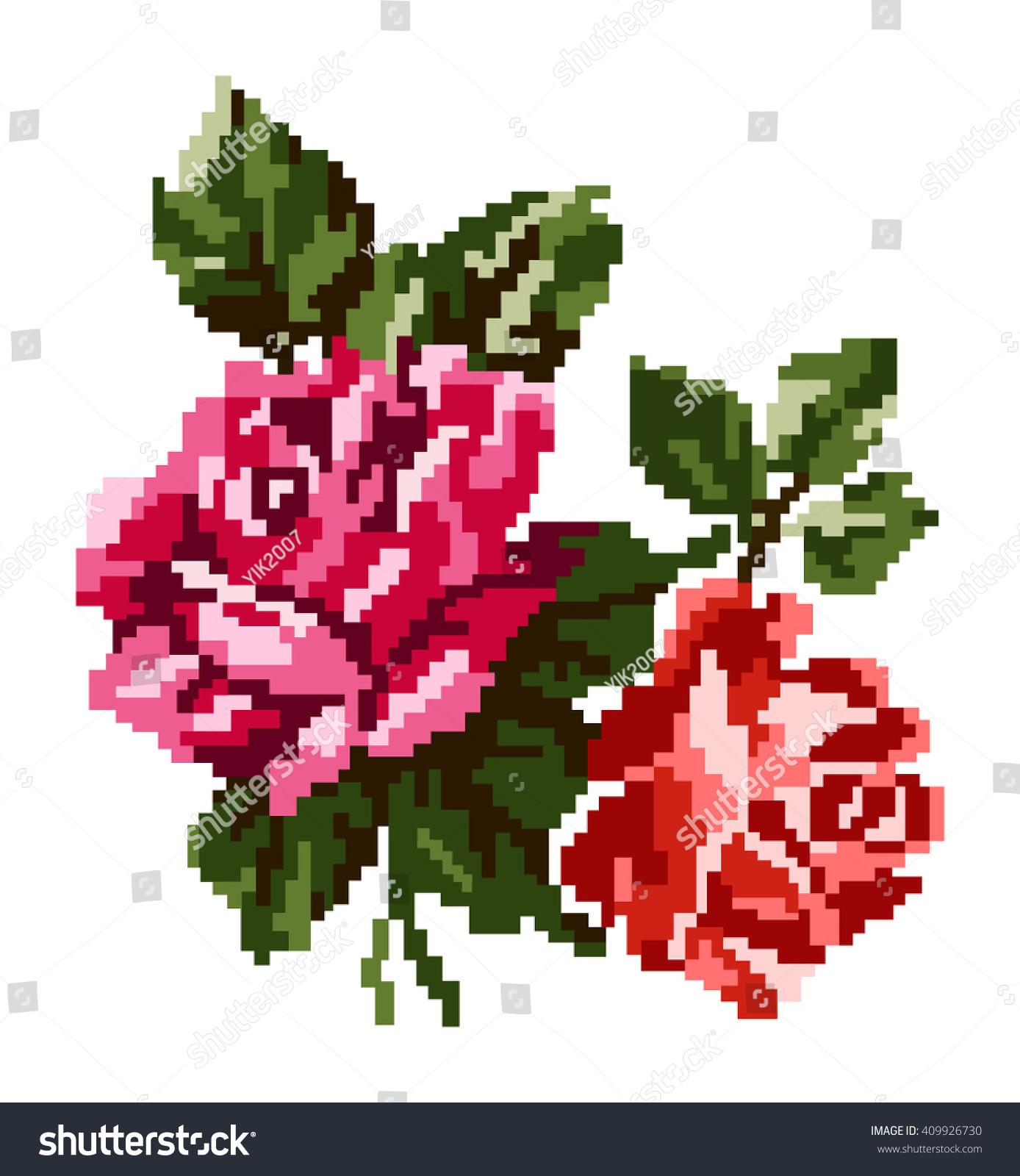Color Bouquet Flowers Roses Red Pink Stock Vector 409926730 ...