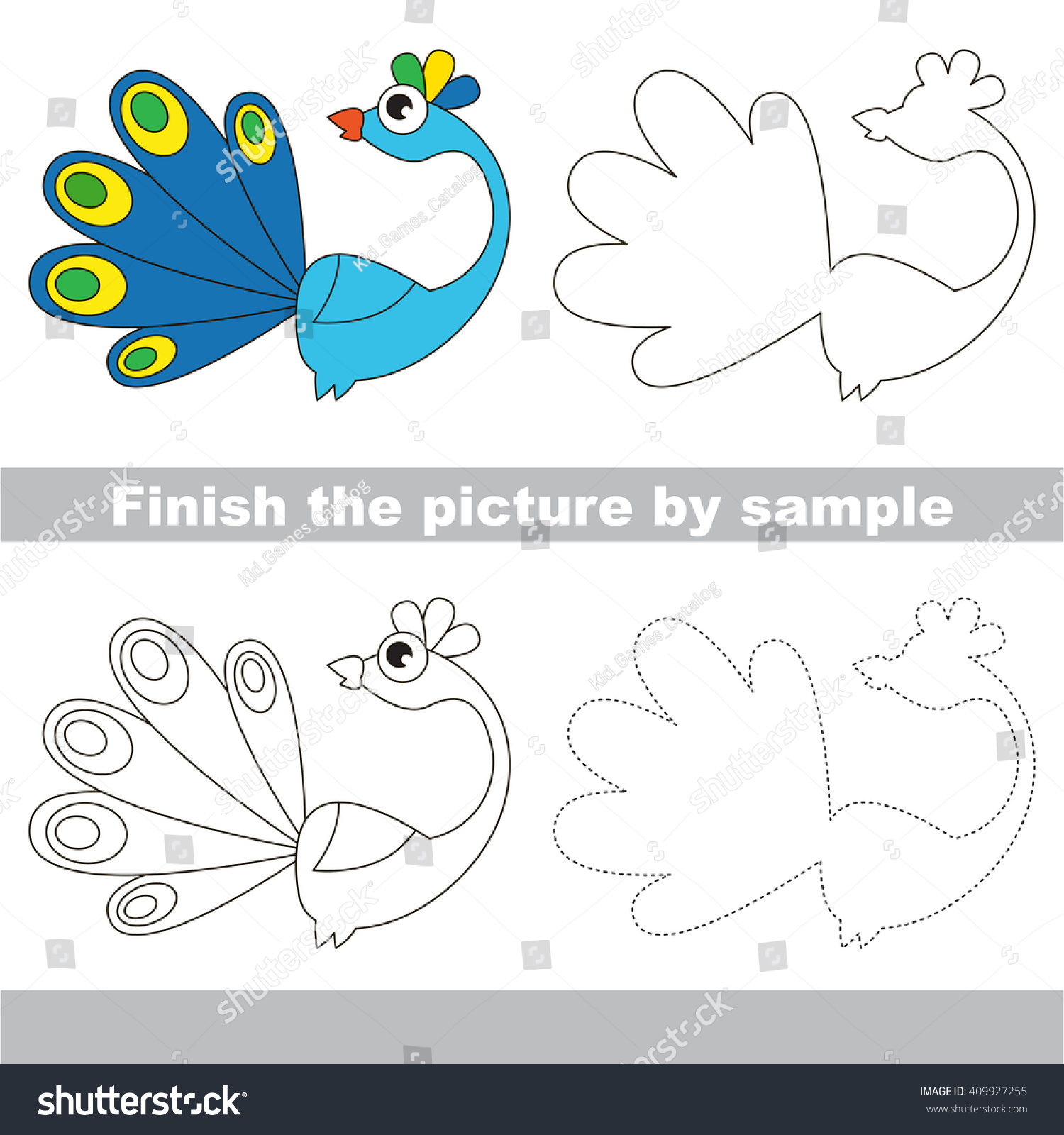 Drawing Worksheet Children Finish Picture Draw Stock Vector ...