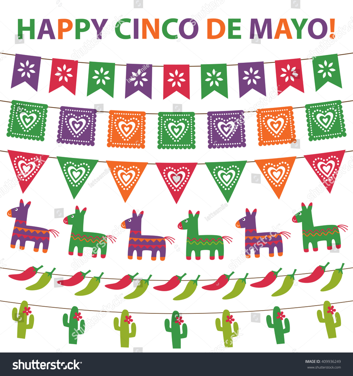 Vector bunting flags lovely celebration card with colorful paper - Cinco De Mayo Vector Bunting Decoration