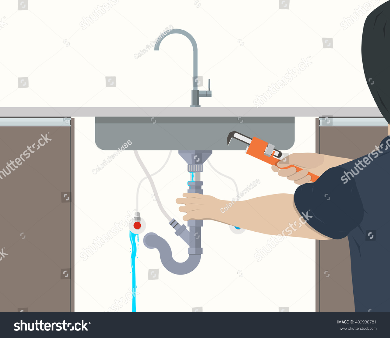 Plumber Repairing Leaking Pipe Under Kitchen Stock Vector ...