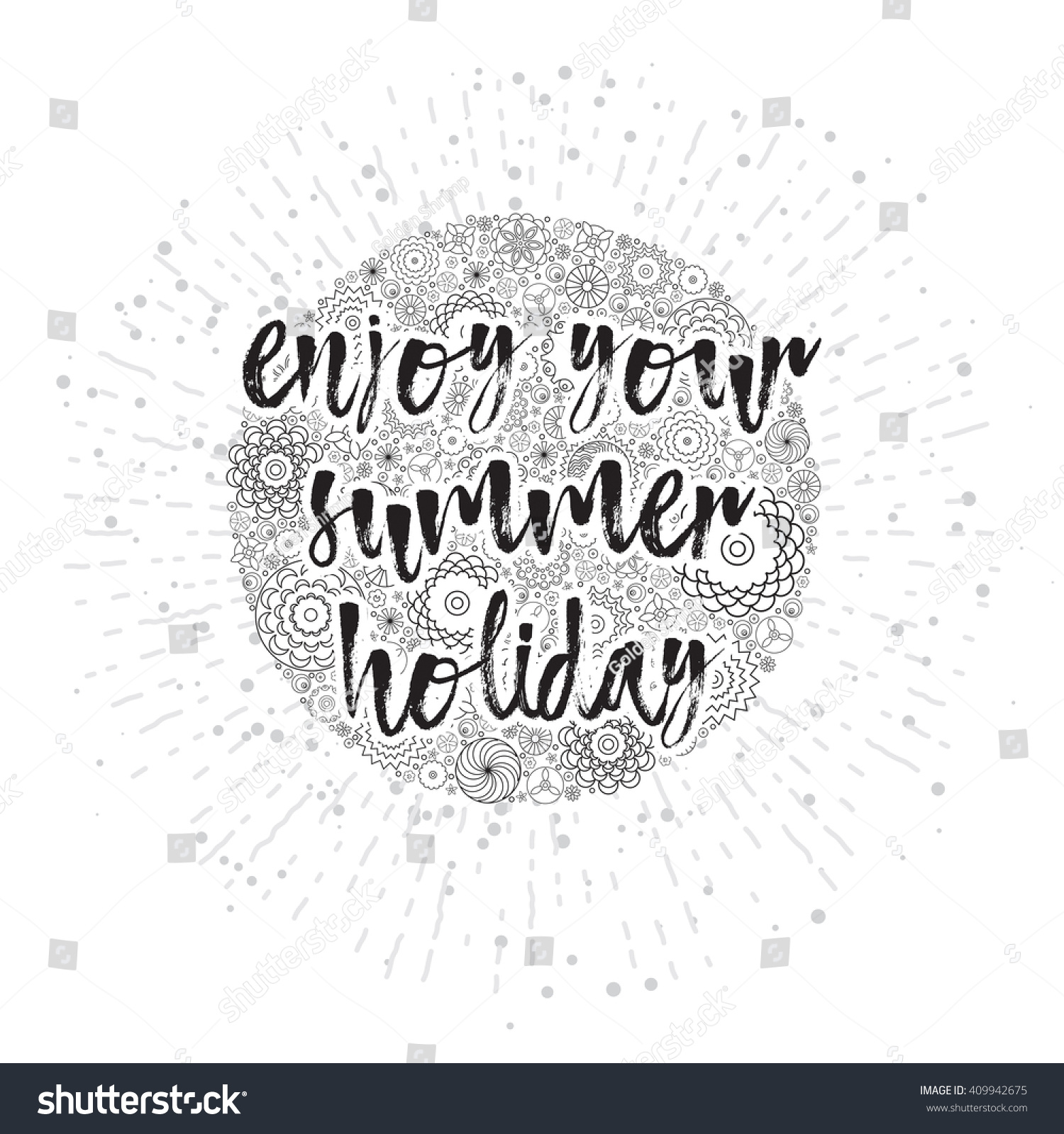 Enjoy Your Summer Holiday Hand Drawn Stock Illustration Royalty