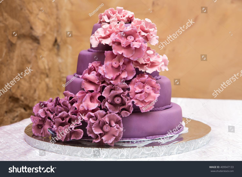 Beautiful Sweet Multilevel Burgundy Color Wedding Stock Photo ...