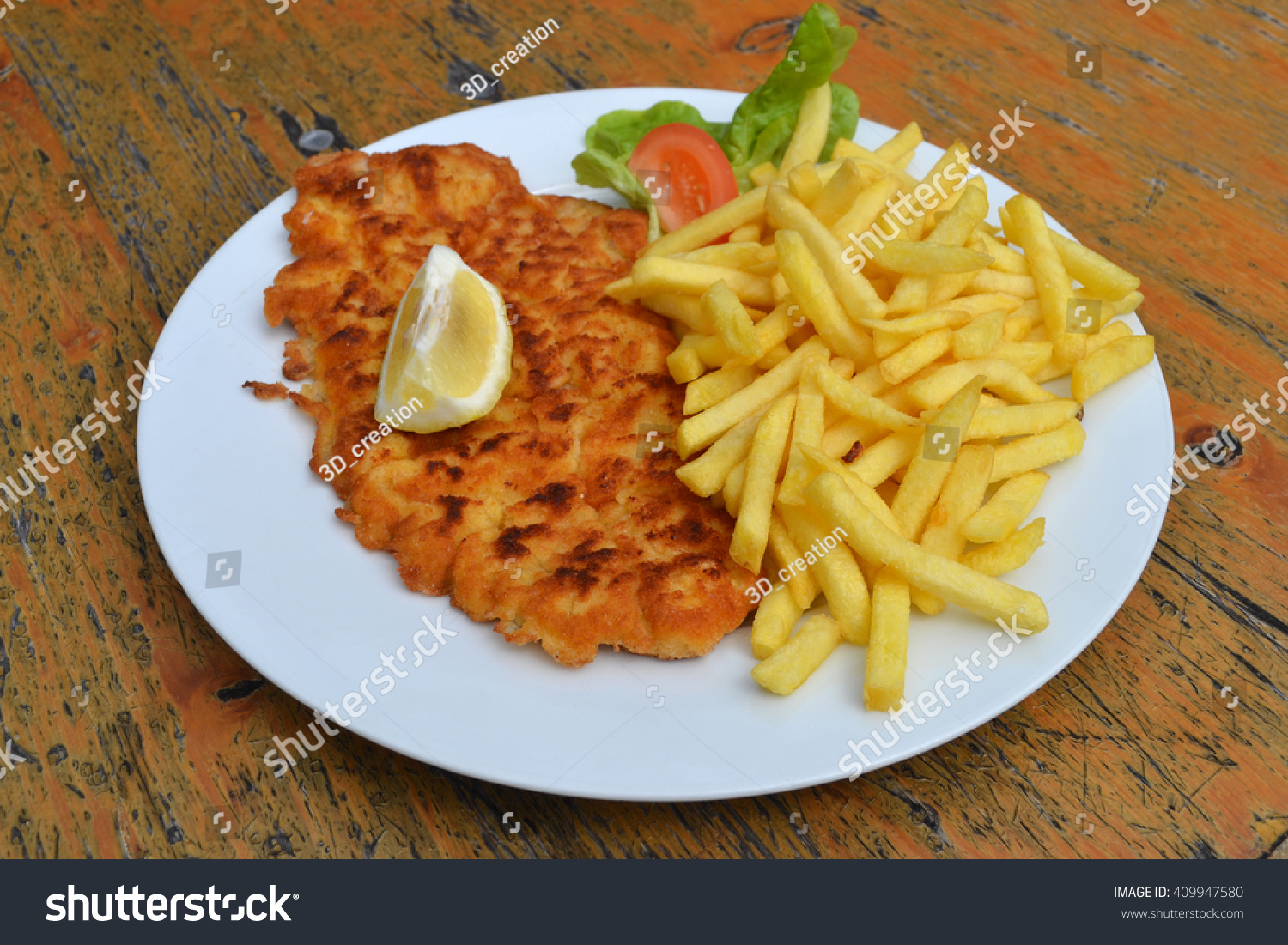 Schnitzel French Fries Typical Austrian Dish Stock Photo Edit Now