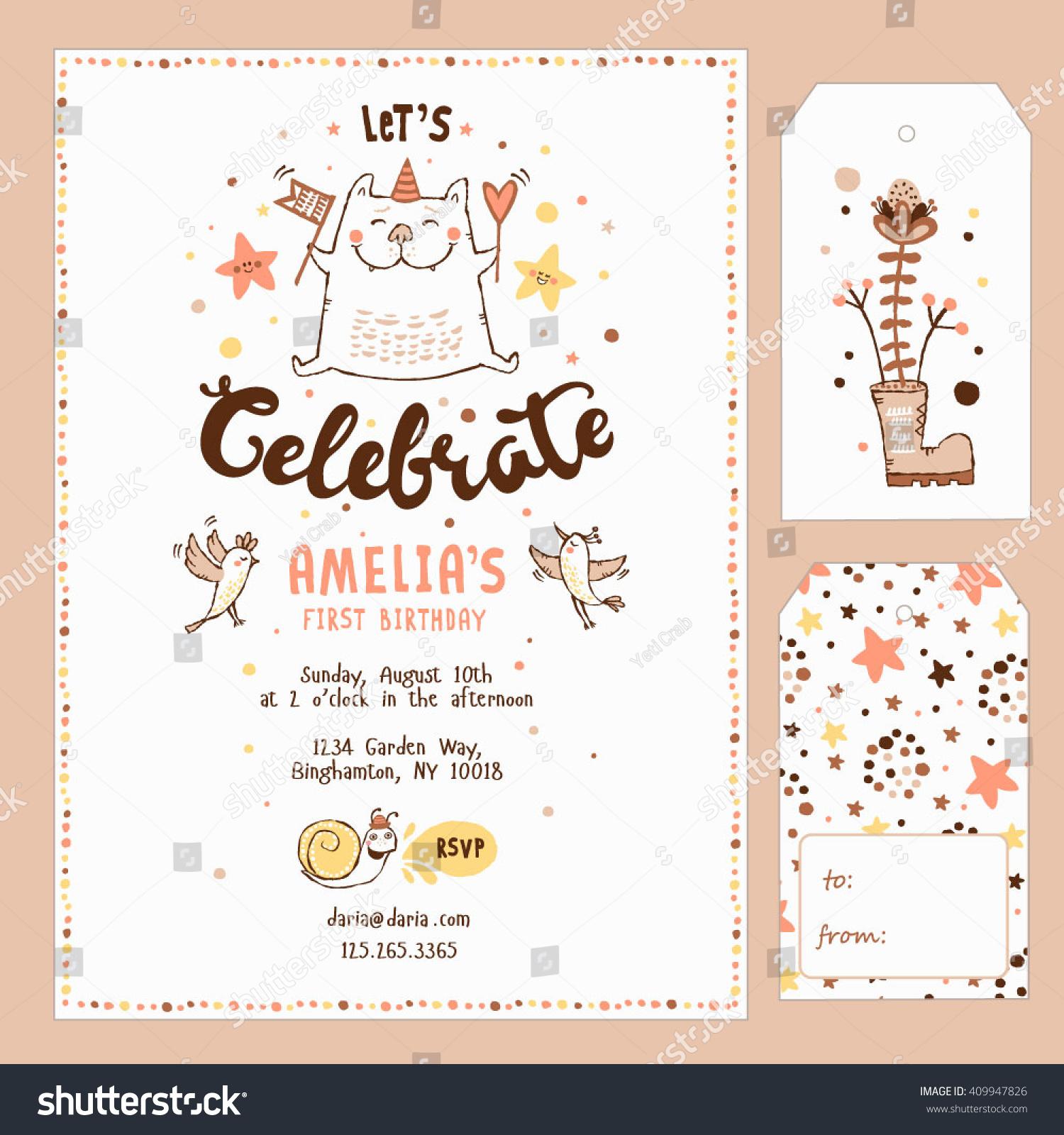 Gift Tags Birthday Invitation Card Birthday Stock Vector HD (Royalty ...