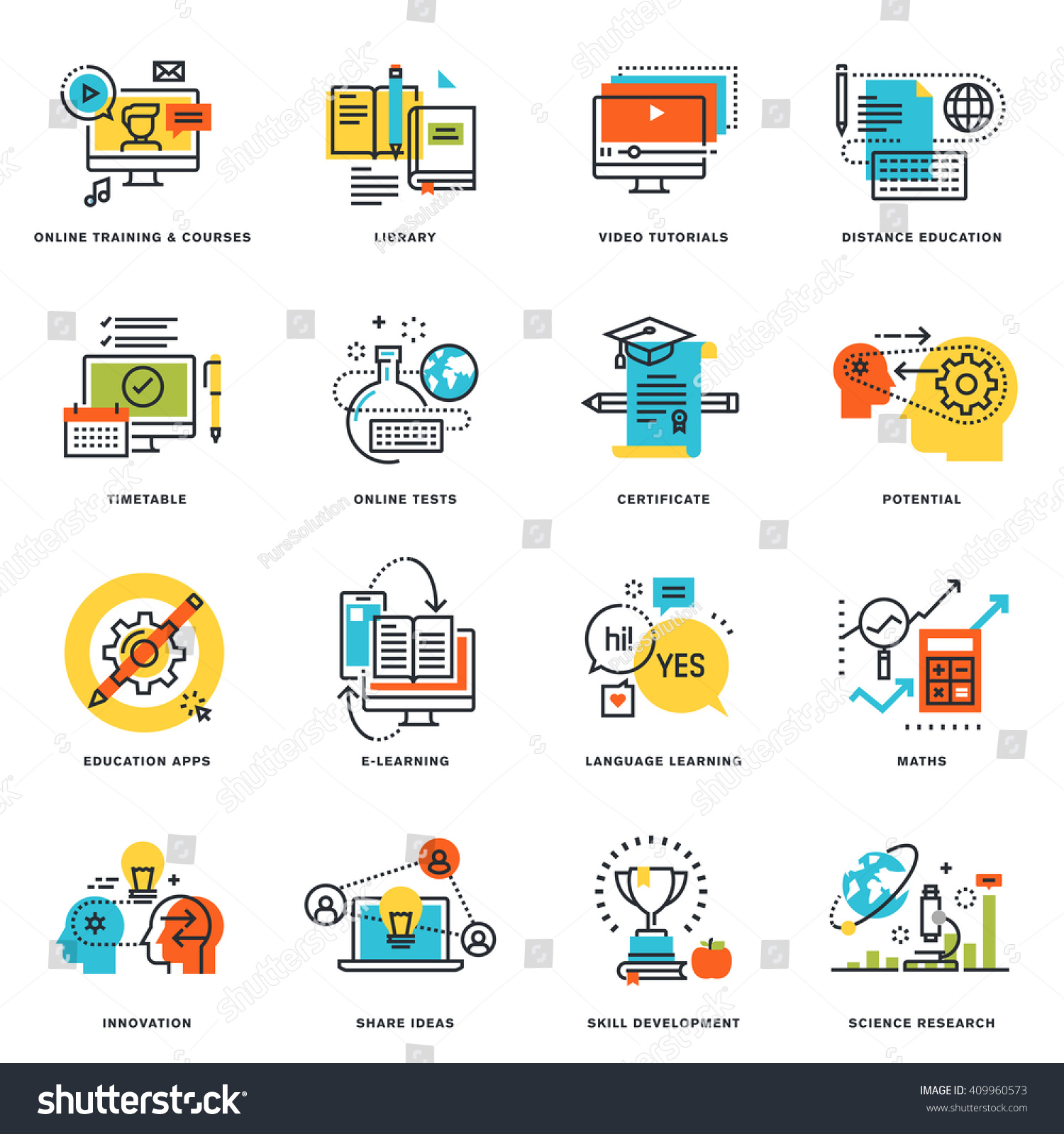 Set flat line design icons online stock vector 409960573 set of flat line design icons of online education and e learning vector illustration xflitez Gallery