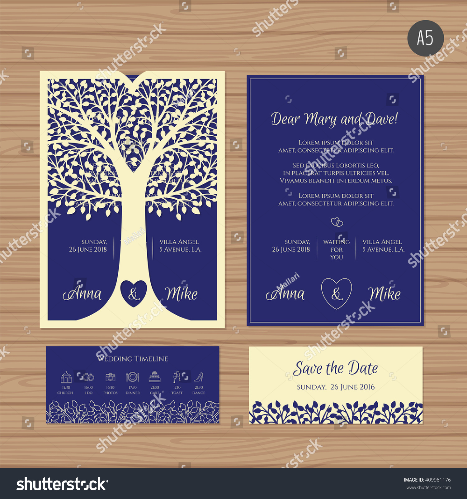 Wedding Invitation Greeting Card Tree Paper Stock Vector 409961176 ...
