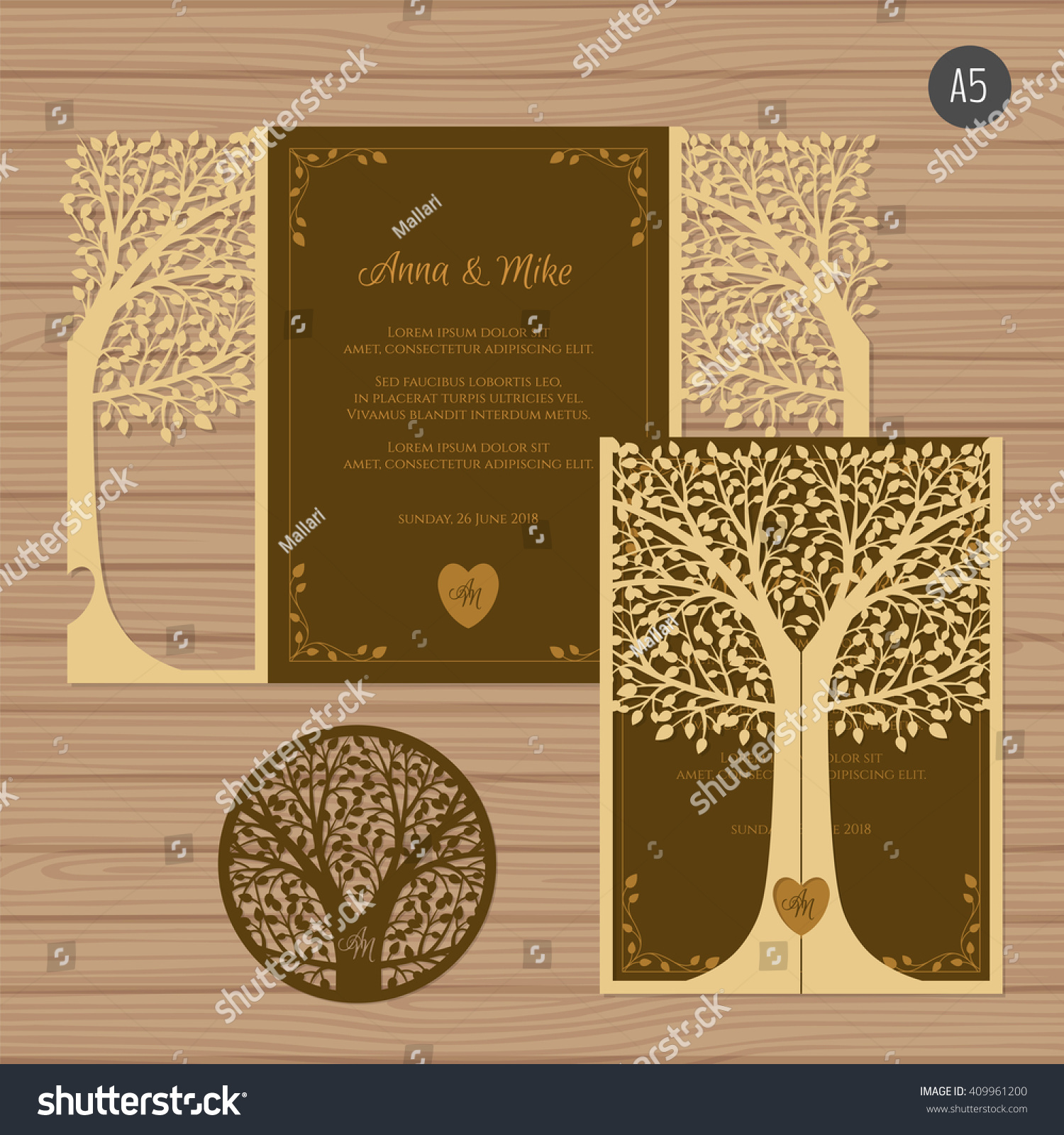 Wedding Invitation Greeting Card Tree Paper Stock Vector 409961200 ...