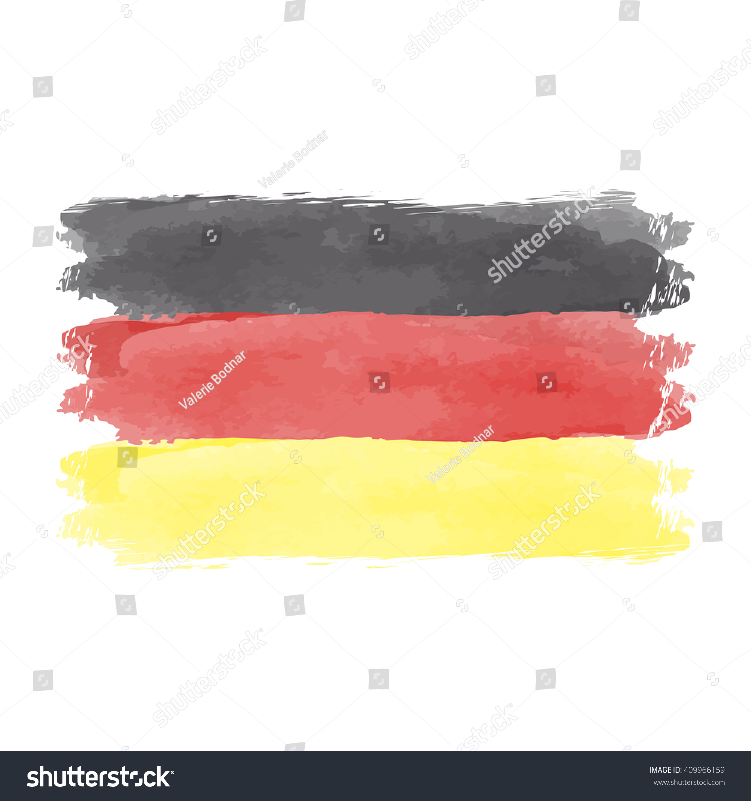 illustration watercolor flag germany german flag stock vector