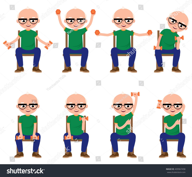 Senior Man Doing Exercises Dumbbells Sitting Stock Vector