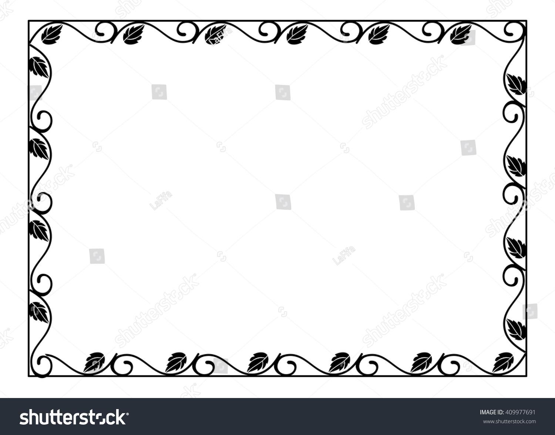 Vintage Horizontal Floral Silhouette Frame Black Stock Vector ...