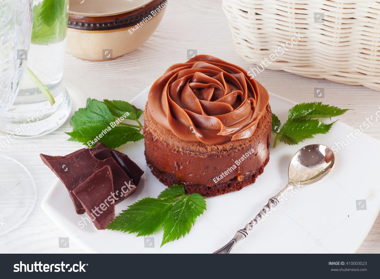 Rose Chocolate Mousse Cake On Beautiful Stock Photo Edit Now