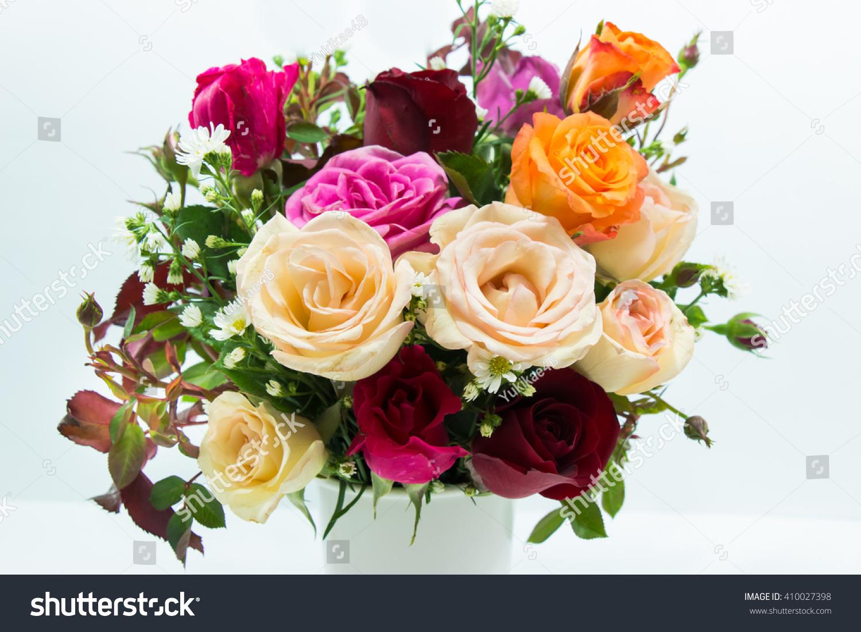 Vase of roses bouquet on white background set of beautiful flower id 410027398 izmirmasajfo